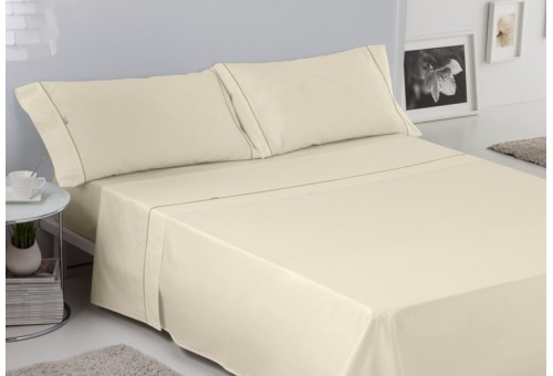 Juego de sábanas LISOS BIÉS 100% algodón (144 hilos). Es-Tela 021-CREMA
