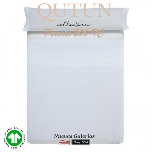 Completo Lenzuola in cotone organico GOTS | Qutun Bianco 200 fili