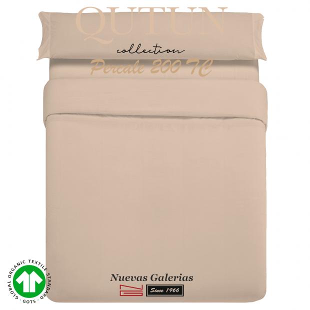 Completo Copripiumino in cotone organico GOTS | Qutun Tortora 200 fili