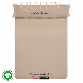 Completo Lenzuola in cotone organico GOTS | Qutun Tortora 200 fili