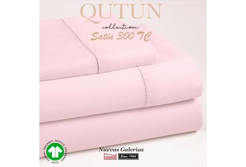Completo Copripiumino in cotone organico GOTS   Qutun Rosa 300 fili