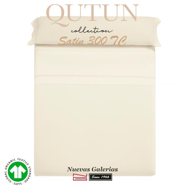 Completo Lenzuola in cotone organico GOTS   Qutun Naturale 300 fili