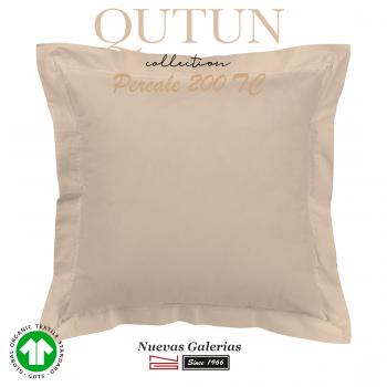 Taie D'Oreiller de coton biologique GOTS | Qutun taupe 200 fils