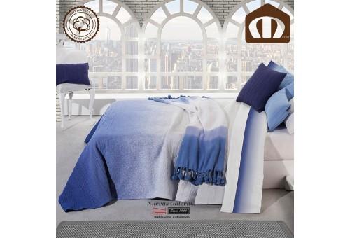 Copriletto Trapuntato di cottone Manterol 003-08 | Formentera Blu