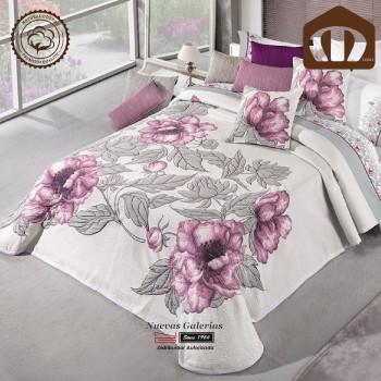 Manterol Baumwolle Bettüberwurf 127-09 | Blume Lila