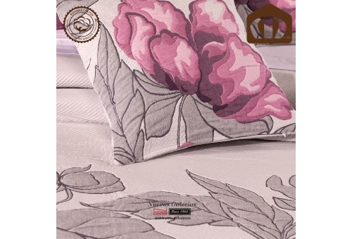 Manterol Baumwolle Bettüberwurf 127-09   Blume Lila