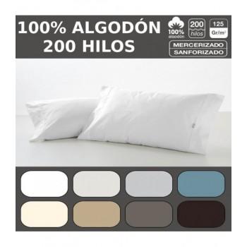 Funda de almohada COMBI LISOS BIÉS. 100% algodón (200 hilos). Es-Tela