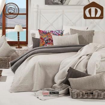 Copriletto Trapuntato di cottone Manterol 002-12 | Ibiza Grigio