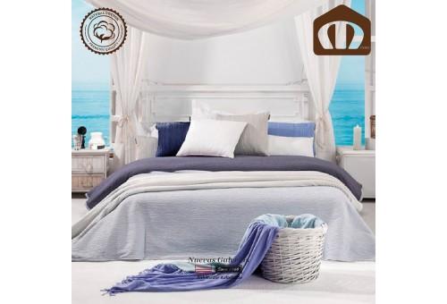 Copriletto Trapuntato di cottone Manterol 002-08 | Ibiza Blu