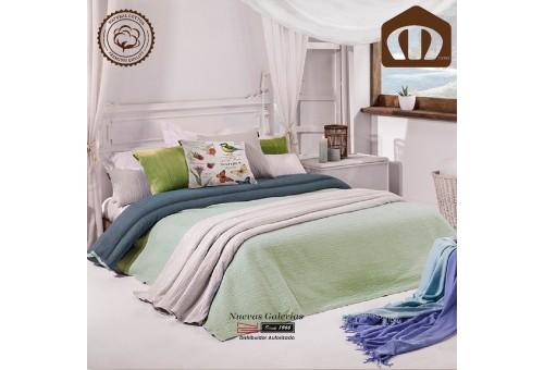 Copriletto Trapuntato di cottone Manterol 002-05 | Ibiza Verde