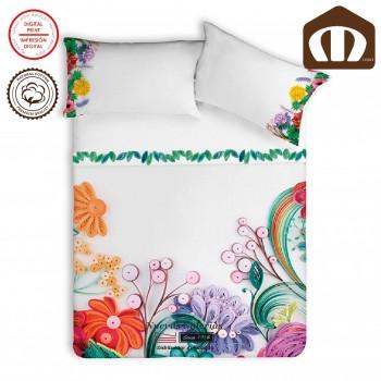 Juego de Sábanas Manterol | Dual Flores 635 200 hilos de algodón