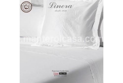 Completo Lenzuola Linera 200 filo cotone   Ricamo Bianco
