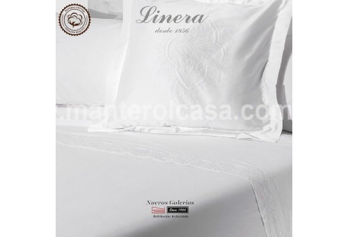 Linera Sheet Set 200 Thread Cotton | Ricamo White