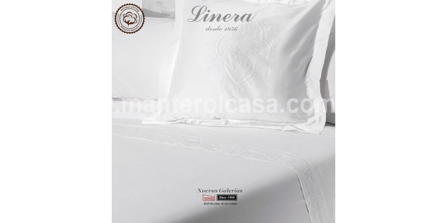 Linera Sheet Set 200 Thread Cotton | Ricamo White