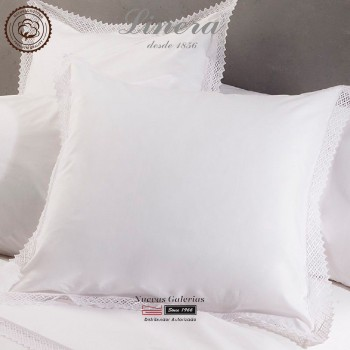 Linera Euro Sham 200 Thread Cotton | Crochet White