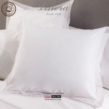Linera Quadratische Kissenbezüge 200 Fäden | Crochet weiß