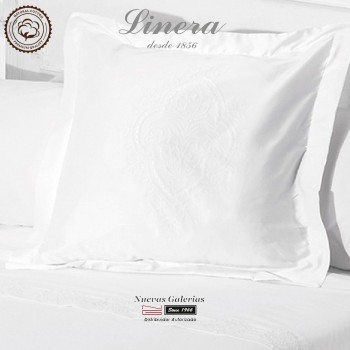Linera Euro Sham 200 Thread Cotton | Ricamo White