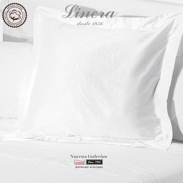 Linera Euro Sham 200 Thread Cotton   Ricamo White