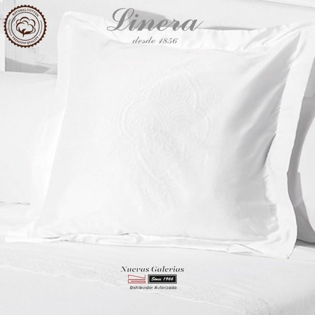 Linera Quadratische Kissenbezüge 200 Fäden | Ricamo weiß