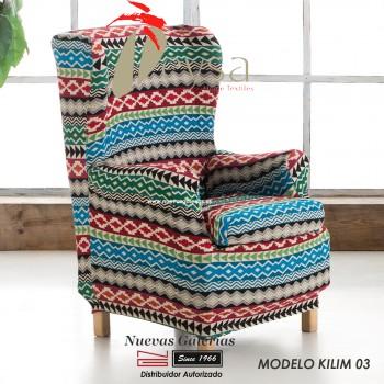 Eysa Elastic Wing Chair Sofa Cover   Graffiti Kilim 03