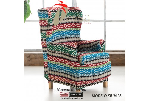 Eysa Elastic Wing Chair Sofa Cover | Graffiti Kilim 03