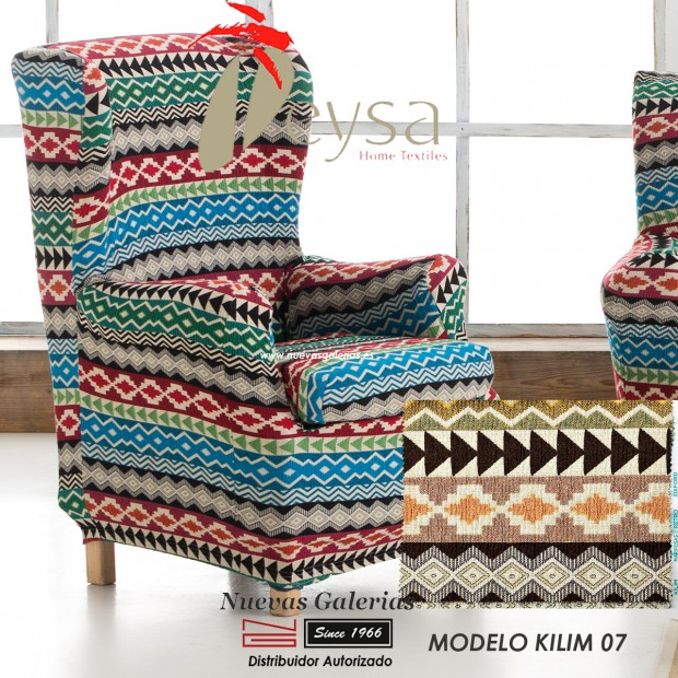 Eysa Elastic Wing Chair Sofa Cover   Graffiti Kilim 07