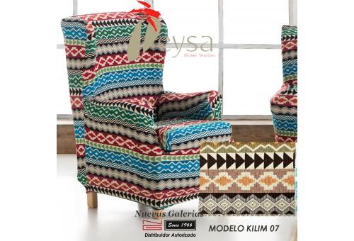 Eysa Elastic Wing Chair Sofa Cover | Graffiti Kilim 07