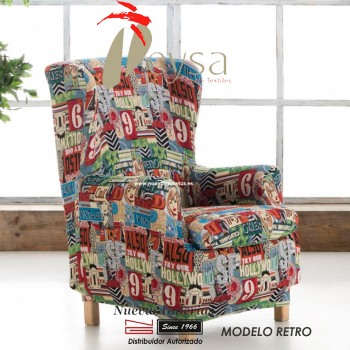 Eysa Elastic Wing Chair Sofa Cover | Graffiti Retro