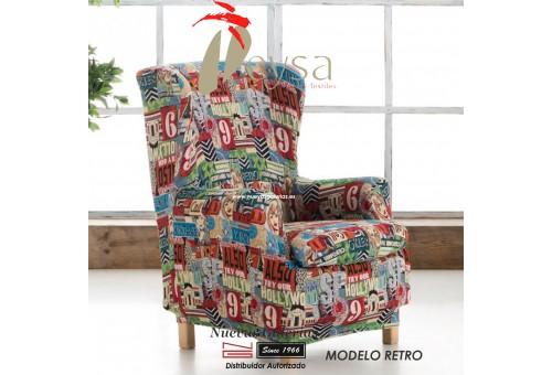 Eysa Elastic Wing Chair Sofa Cover | Graffiti Retro