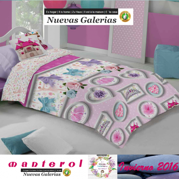 Manterol Housse de Couette Enfant Manterol | Junior 588 - 1 Funda Nordica Manterol | Junior 588 - Juego de Funda Nórdica con mot