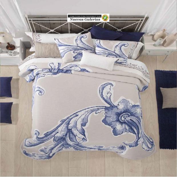 Manterol Manterol Bedcover | Karin 755-08 - 1 Manterol bedspread | Karin 755-08 Blue - Jacquard bedspread of high range and inte