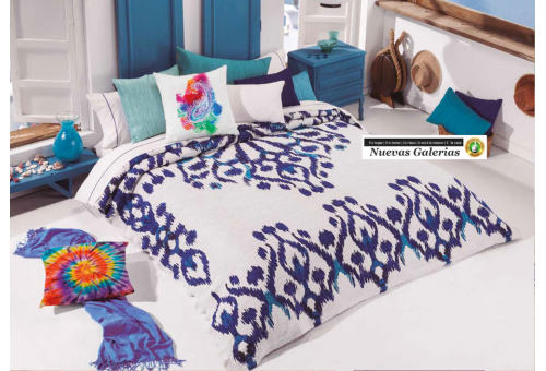 Manterol Manterol Bedcover | Ikat 622-08 - 1 Manterol bedspread | Ikat 622-08 Blue? - Jacquard bedspread of high range and inter