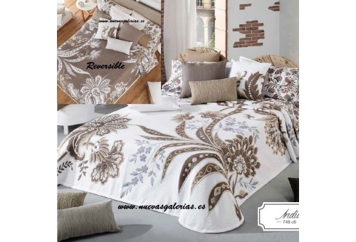 Manterol Manterol Bedcover | India 748-06 - 1 Indian Reversible Bedspread 748-06 | Manterol - Jacquard quilt of high range and i