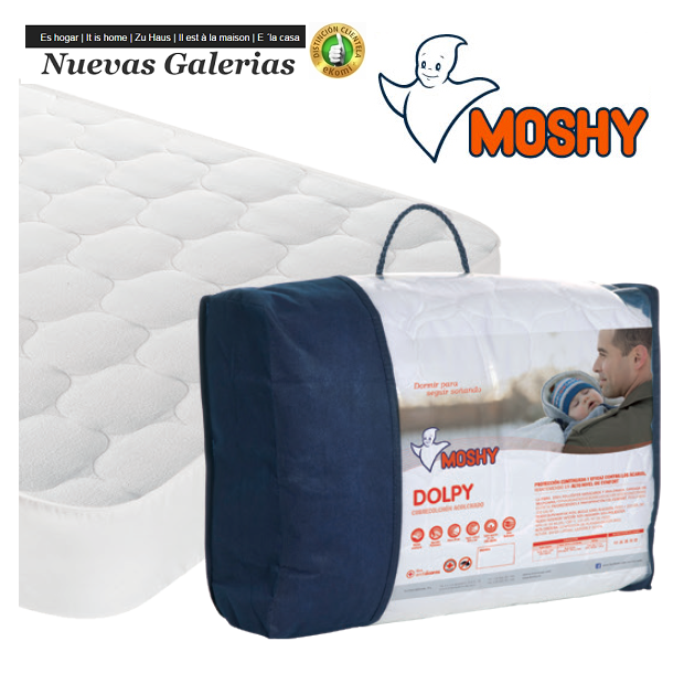 Moshy Dolpy Coprimaterasso trapuntato reversibile | Moshy - 1 Materasso Reversibile Dolpy | Tessuto 100% cotone, estate-inverno