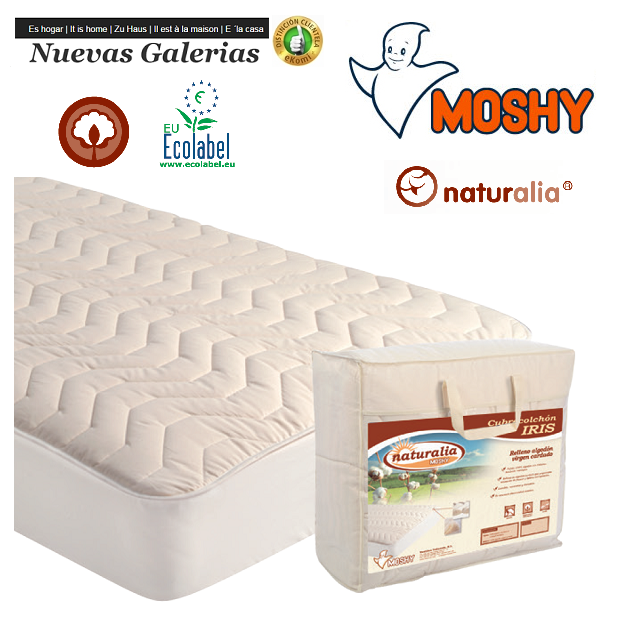 Moshy Iris Naturalia quilted mattress protector | Moshy - 1 Mattress cover Iris Naturalia | Moshy 100% sanforized cotton Virgin