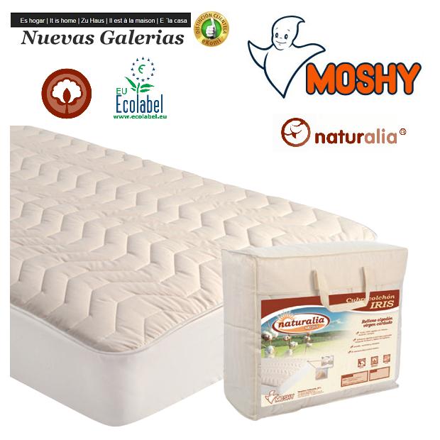 Moshy Moshy Gesteppter Matratzenschutz | Iris Naturalia - 1 Matratzenbezug Iris Naturalia | Moshy 100% sanforisierte Baumwolle A