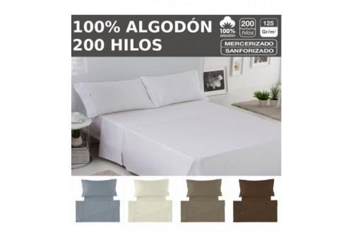 Juego de sábanas LISO BIÉS. 100% algodón (200 hilos). Es-Tela