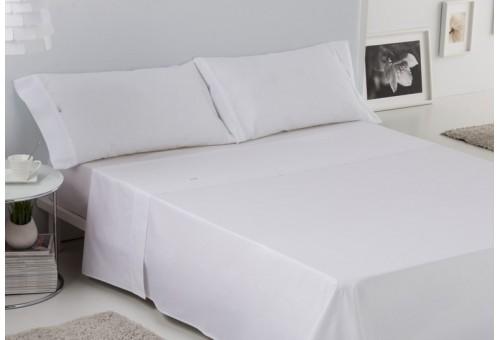 Juego de sábanas LISO BIÉS. 100% algodón (200 hilos). Es-Tela 001-BLANCO