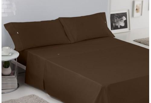 Juego de sábanas LISO BIÉS. 100% algodón (200 hilos). Es-Tela 179-CHOCOLATE