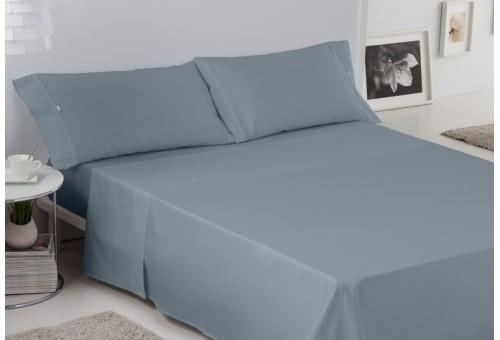 Juego de sábanas LISO BIÉS. 100% algodón (200 hilos). Es-Tela 254-ACERO
