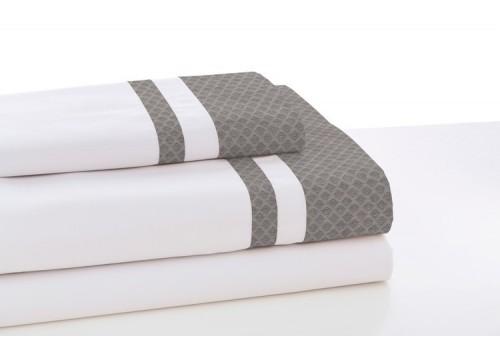 Juego de sábanas MARBELLA. 100% algodón (200 hilos). Es-Tela 327-BLANCO-GRIS
