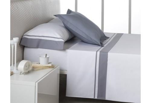 Juego de sábanas MARBELLA. 100% algodón (200 hilos). Es-Tela 254-ACERO