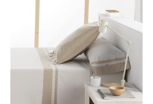 Juego de sábanas MARBELLA. 100% algodón (200 hilos). Es-Tela 314-HUESO-PIEDRA