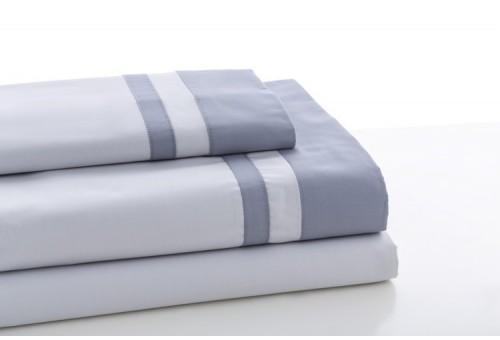 Juego de sábanas MARBELLA. 100% algodón (200 hilos). Es-Tela 315-PERLA-ACERO