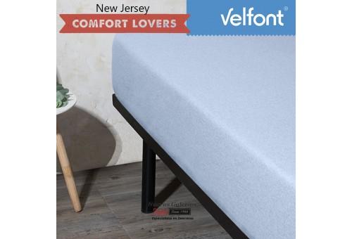 Velfont Fitted Sheet   New Jersey Azul Sky
