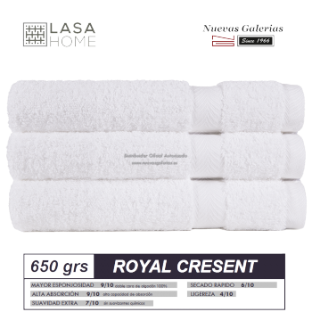 100% Cotton Bath Towel Set 650 gsm White | Royal Cresent