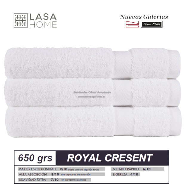 Toalla White Algodon 650 gramos   Royal Cresent