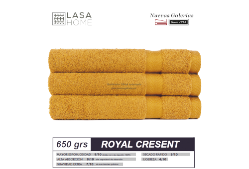 100% Cotton Bath Towel Set 650 gsm Honey Yellow | Royal Cresent