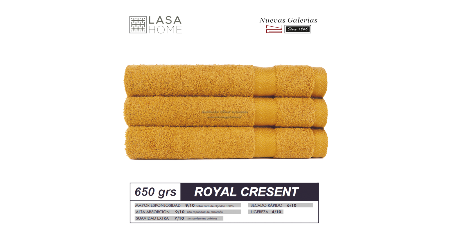 100% Cotton Bath Towel Set 650 gsm Honey Yellow | Royal Cresent