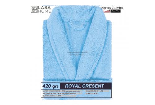 Bademantel Schalkragen Himmelblau   Royal Cresent
